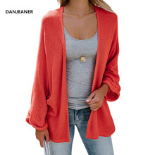 Danjeaner New Women Sweaters Autumn 2018 Plus Size Batwing Sleeve Solid Loose Long Cardigans Ladies Thin Casual Knitting Jumpers