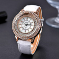 Crystal Rhinestone Brand PU Leather Watches Women Dress Clock Ladies Gifts Quartz Wristwatches Watch Reloj For Girls Fashion