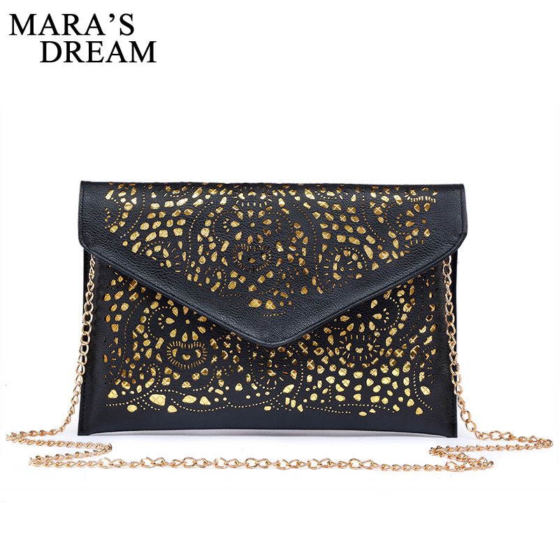 Mara's Dream Solid Women Envelope Bag Fashion Women's Clutch Bag Hollow Out Designer Messenger Bags For Ladies Evening Party Bag