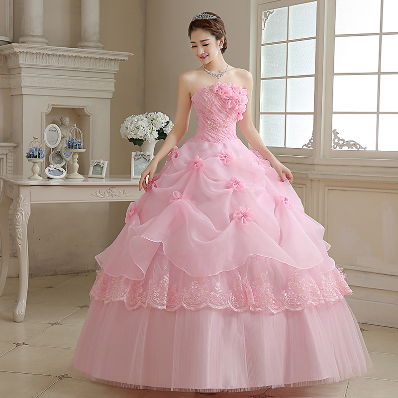 Anime Ball Gown White With Red Roses: 2017 Latest Wedding Dresses Glamorous Flowers Pink/White