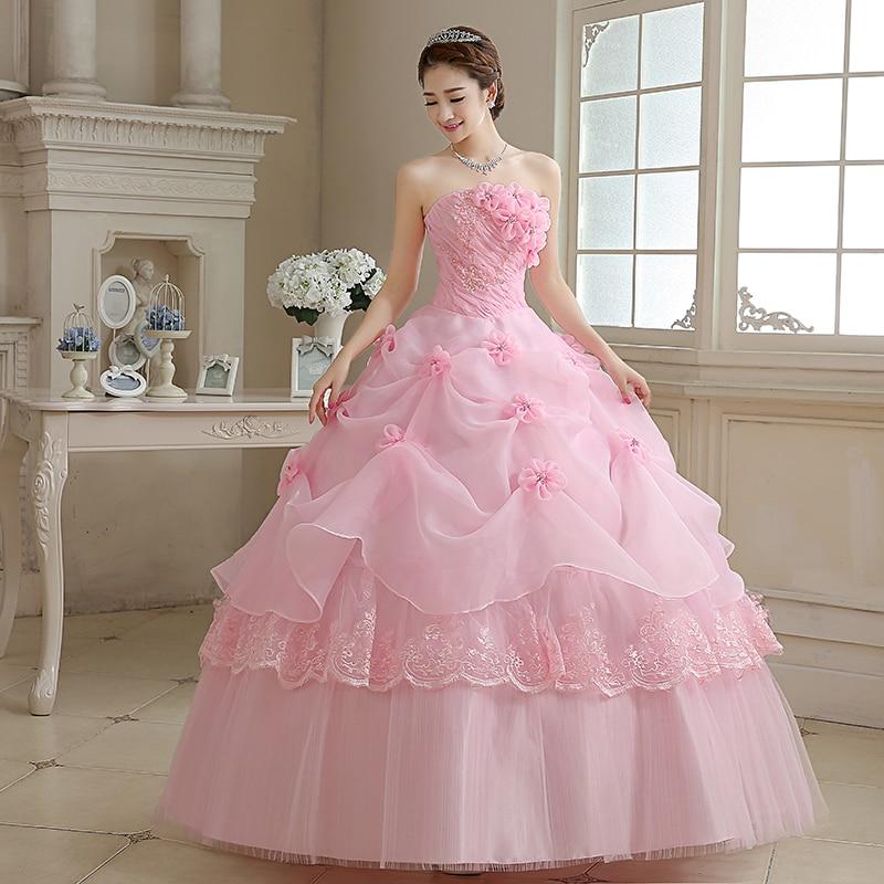 2017 Latest Wedding Dresses Glamorous Flowers Pink/White