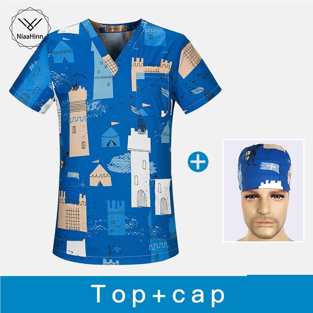 Cotton Medical Clothing Tops Surgery Cloths Medical Scrubs Dental Nursing Uniform Surgical Gown For Women Men Doctor Hat+masks