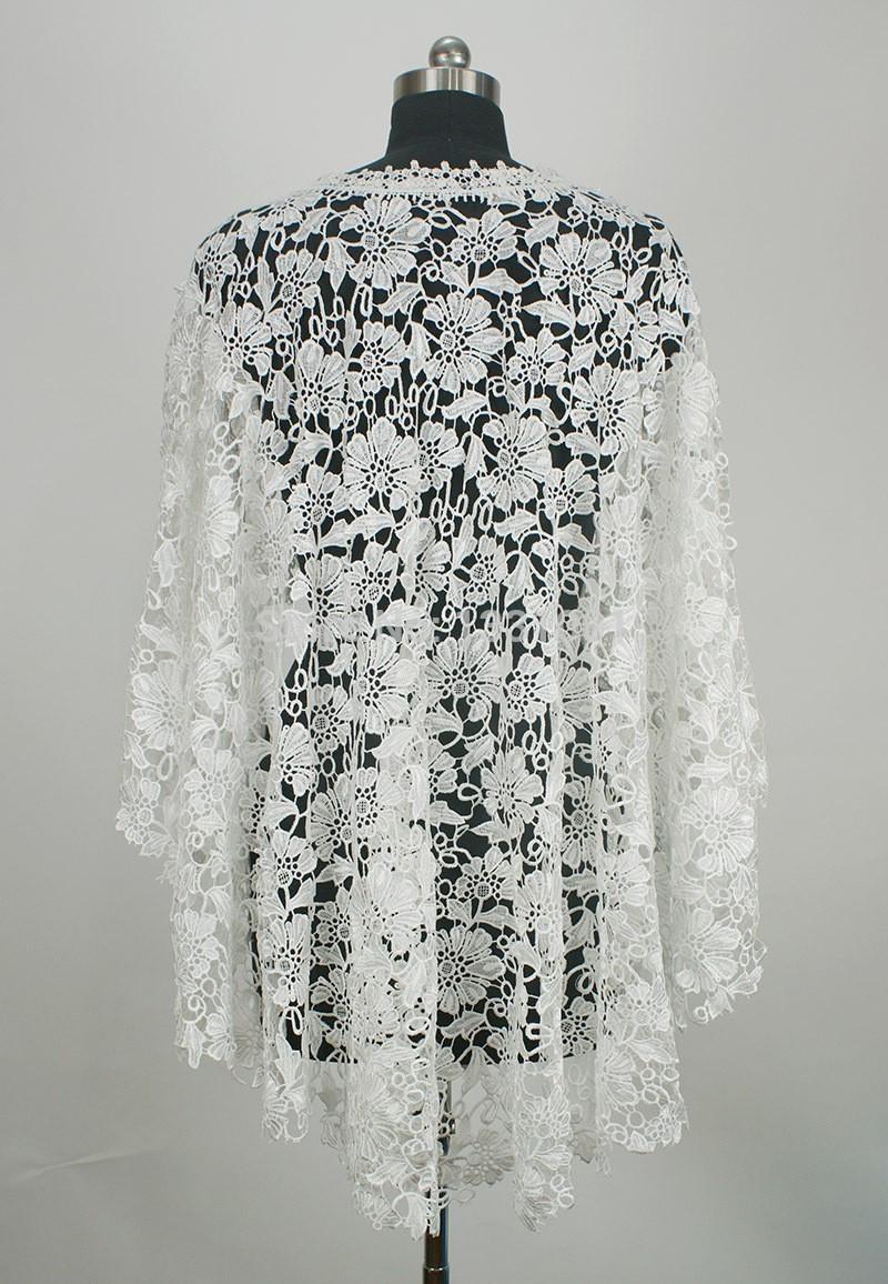O Neck White Or Beige Lace Wedding Bolero De Renda Bridal Jackets 2015 One Piece Sleeveless Imported China (3)