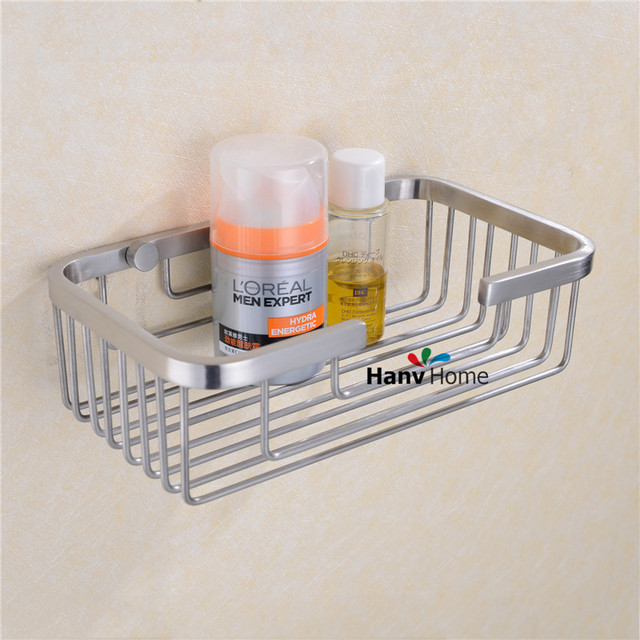 Stainless Steel Brushed Nickel Bathroom Shower Shelf Bracket Shelves Basket  Wall Mounted Caddy Storage