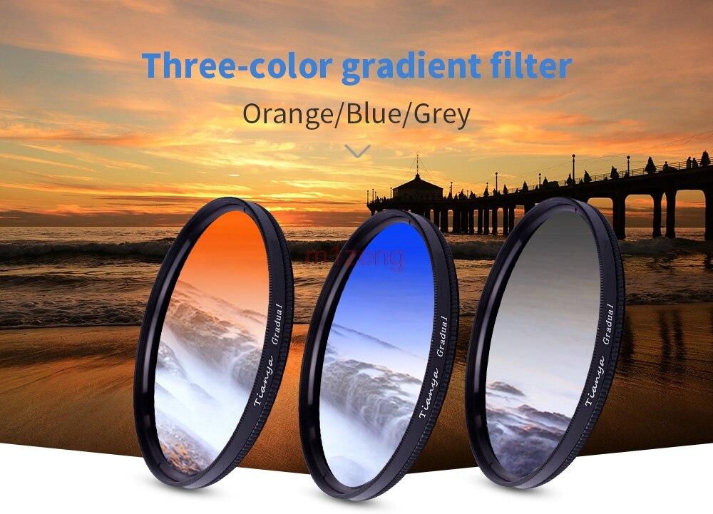 3in1 grigio sfumato blu arancione 37 40.5 46 49 52 55 58 62 67 72 77 82mm Colore lente Filtro per canon nikon fotocamera pentax