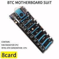 BTC IC6S Mining Motherboard 8 Graphics Cards Slots PCI Express 8 to 16x Slots DDR4 VGA USB2.0 SATA3.0 1000Mbps LAN Mainboard