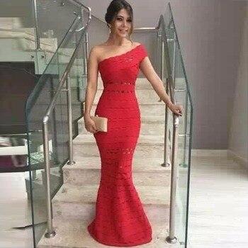 Beige Black Red Color Elegant Evening Party Dress One Shoulder Long Dress Jacquard HL Bandage Dress TOP QUALITY