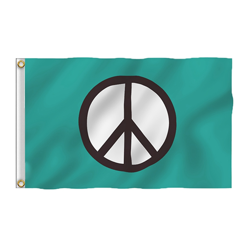 World Peace Flag Double Stitched Canvas Header Polyester Peace Symbol Flag Green