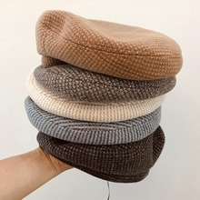 Elegant Chic French Style Plaid Women Beret Hat Girl Lady Dress Beanies Warm Autumn Winter Adjustable Wool Knitted Cap