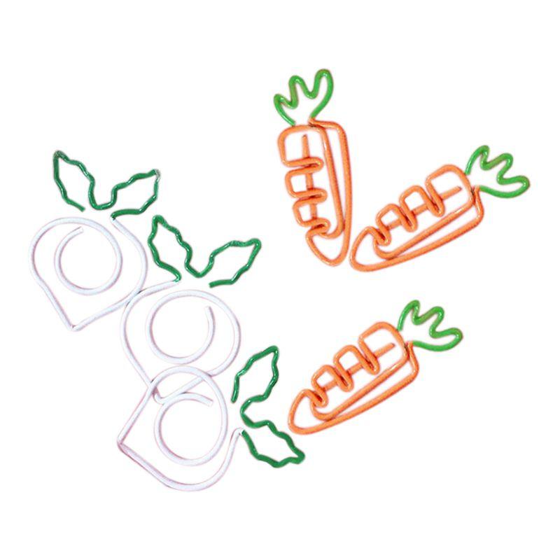 10 Pcs/Set Kawaii Metal Vegetable Carrot Radish Clips Fruit Notes Folder Message Photo Paper Clip Stationery Memo Clips