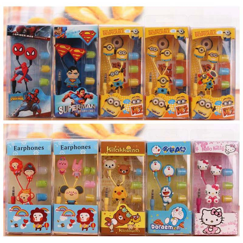 Hot Cartoon Avengers earphone minions Despicable Me superman in-ear headset 3.5mm jake stereo headphones for iphone5 Samsung E03
