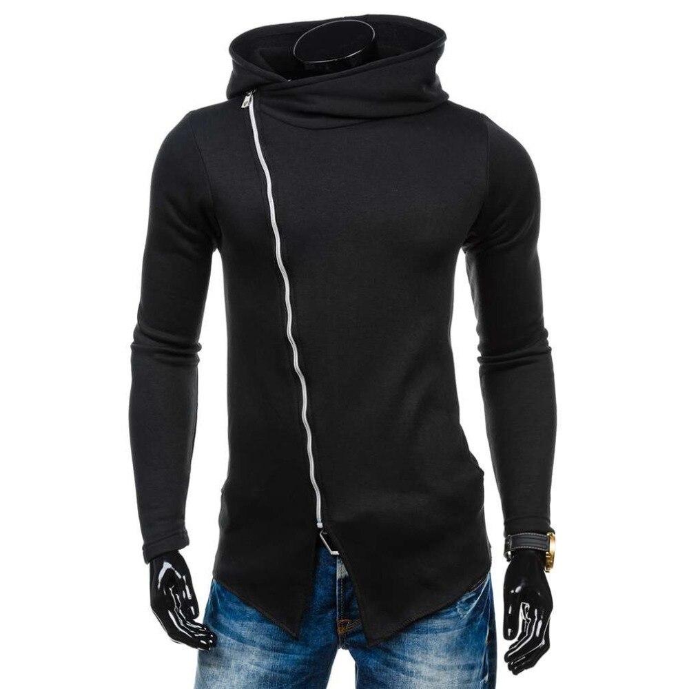 Winter Autumn Men Hoodies Sweatshirts Long Sleeve Hooded Jacket Warm Inclined Zipper Design Solid color Sweatshirt Men Sudaderas