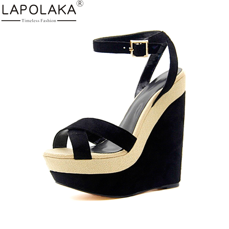LAPOLAKA New women's Wedges High Heels Ankle Strap Platform Shoes Woman Casual Party Summer Sandals Black Big Size 34-43 big size 32 44 ankle strap patch color super hoof high heels platform shoes woman spring summer pumps party dress shoes sexy