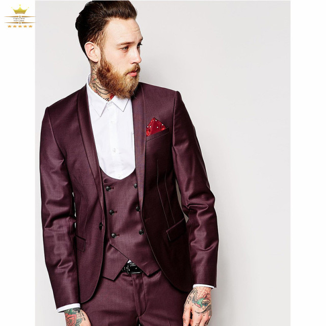 732f7b23ccede8 Men slim fit suit with pants custom made burgundy suit wedding suits for men  one button shawl lapel jacket+vest+pants+tie BUR33