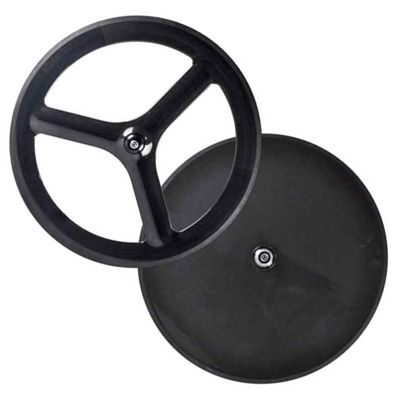 Roues en carbone à engrenages fixes de haute qualité avant roues de vélo de route à disque arrière à 3 rayons