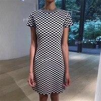 Винтажные наряды с короткий рукав o образным вырезом высокое качество плед ретро платья для Для женщин Для летних вечеринок Высокое качеств