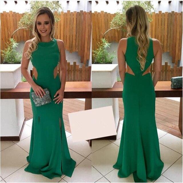 ed130c086 2017 Corte Da Cintura Verde Jersey Prom Vestidos Com Duplo Frente Dividir Vestidos  de Festa de