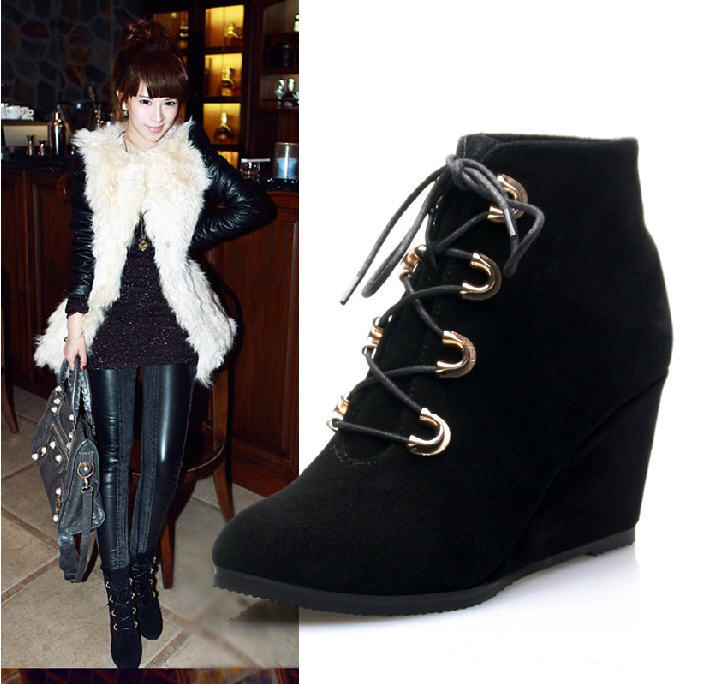 ФОТО 2014 New Spring And Autumn Fashion Leather Boots Women High-Heeled Slope Martin Boots Naked Lace-Up Wedges Shoes Winter H870