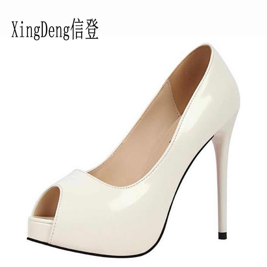 XingDeng открытый носок Лакированная кожа Свадебная вечеринка платье  туфли-лодочки на высоком каблуке Для женщин ca3349034c1