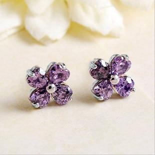 925 Sterling Silver Earrings For Women Violet Zircon Flower Earings Ear Rings Studs Brincos Jewelry Wedding Gift Bijouterie