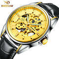 BINSSAW / 2016 stainless steel watch original luxury top brand new men skeleton automatic mechanical watches Relogio Masculino
