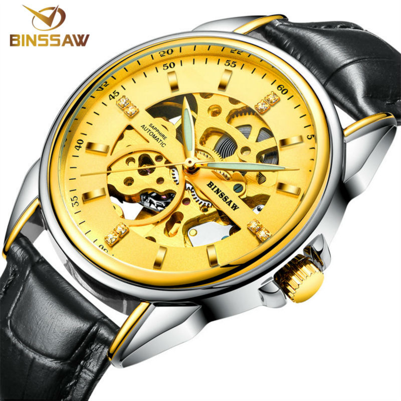 BINSSAW / 2017 stainless steel watch original luxury top brand new men skeleton automatic mechanical watches Relogio Masculino original binger mans automatic mechanical wrist watch date display watch self wind steel with gold wheel watches new luxury