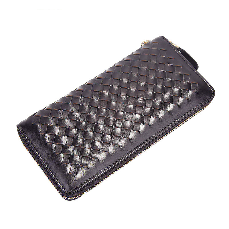 Натуральная Воловья кожа Винтажный Мужской кожаный тканый стильный кошелек Длинный дизайнерский кошелек брендовый дизайнерский мужской к