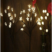 LED lantern Cherry blossom star round bead table lamp living room creative bedroom night lamp girl room layout romantic