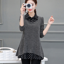 2017 Spring and Autumn Long loose Women's sweater fashion pullover knitting shirt in big size plus size female clothes 4xl 5xl