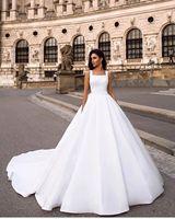 Vintage White Wedding Dress Simple Summer Plus Size Satin Cheap Long Train Square Neck Women Bridal Gowns