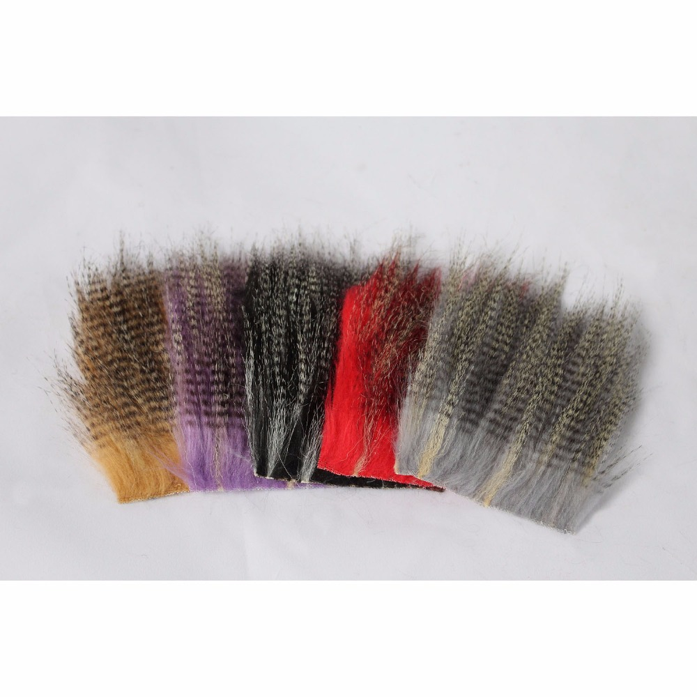 Tigofly 5 st 8cmX8cm Furabou Hantverk Fur 5 Barred Colors Fiber Streamer Stål Wing Fly Fishing Tying Materials