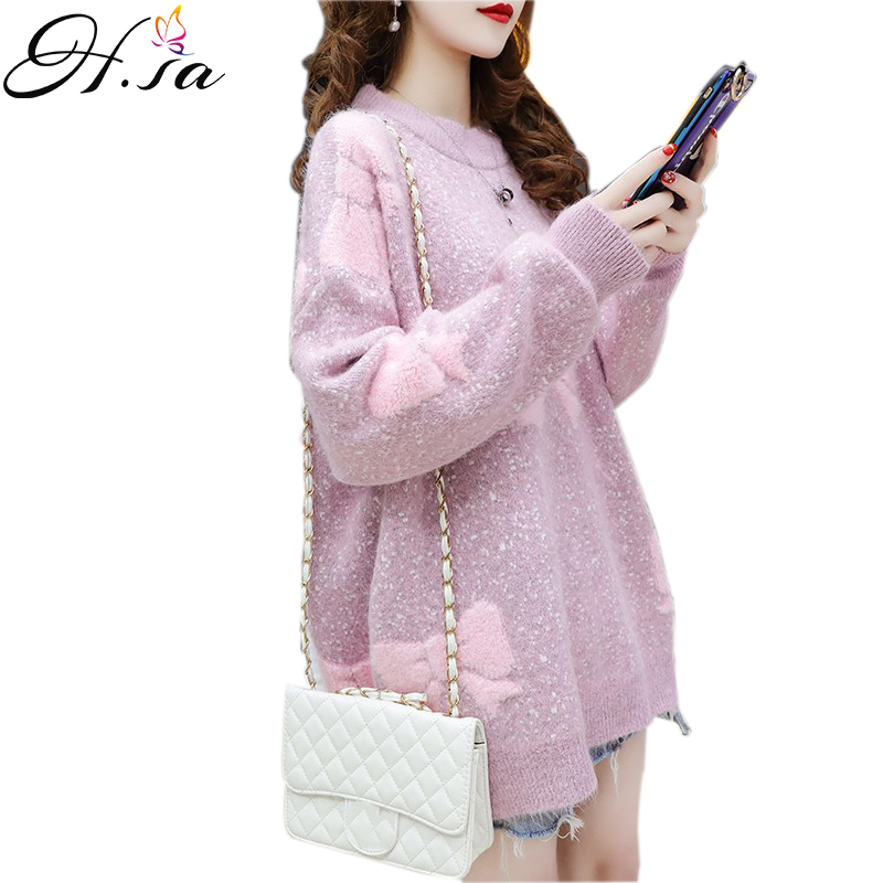 H.SA Women Oversized Sweater And Pullovers 2019 O Neck Bow Pull Jumpers Spring Korean Knit Sweaters Purple Pink Knitwear Pull