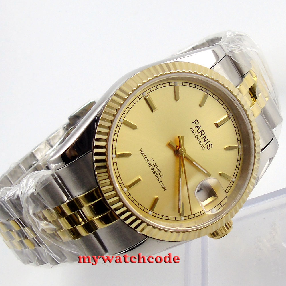 лучшая цена 36mm Parnis gold dial Sapphire glass 21 jewels Miyota automatic mens watch 409