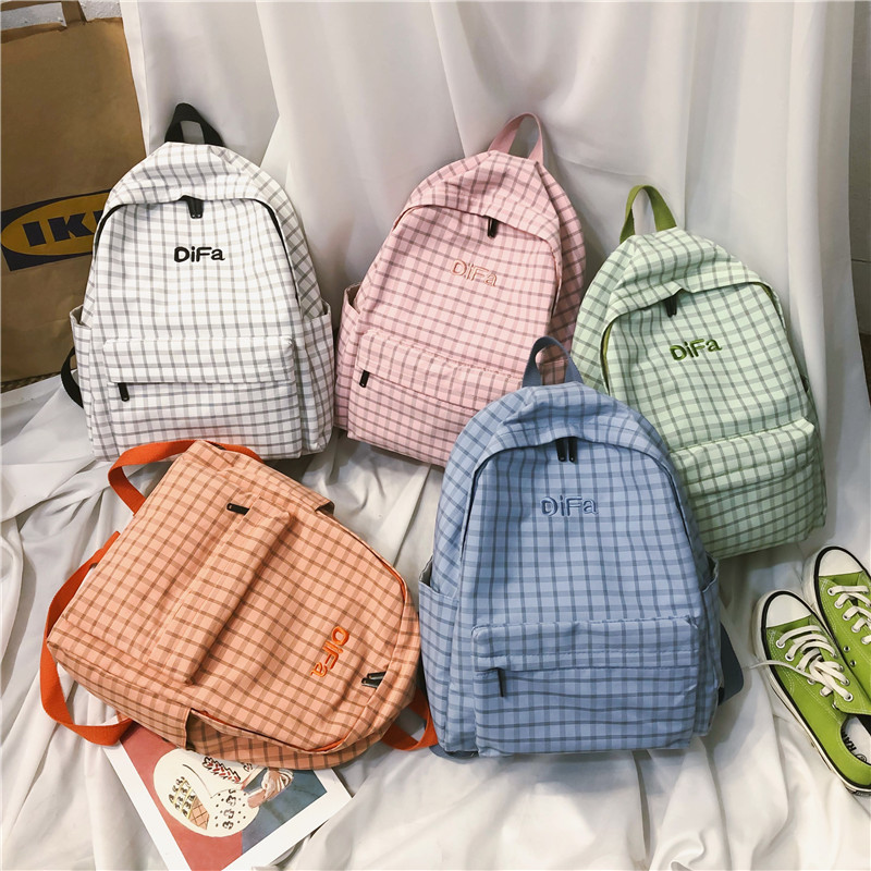 Fashion Plaid Women Backpack Female Cotton canvas schoolbag for Teenage girls Travel Backpacks Fashion embroidery Mochila in Backpacks from Luggage Bags