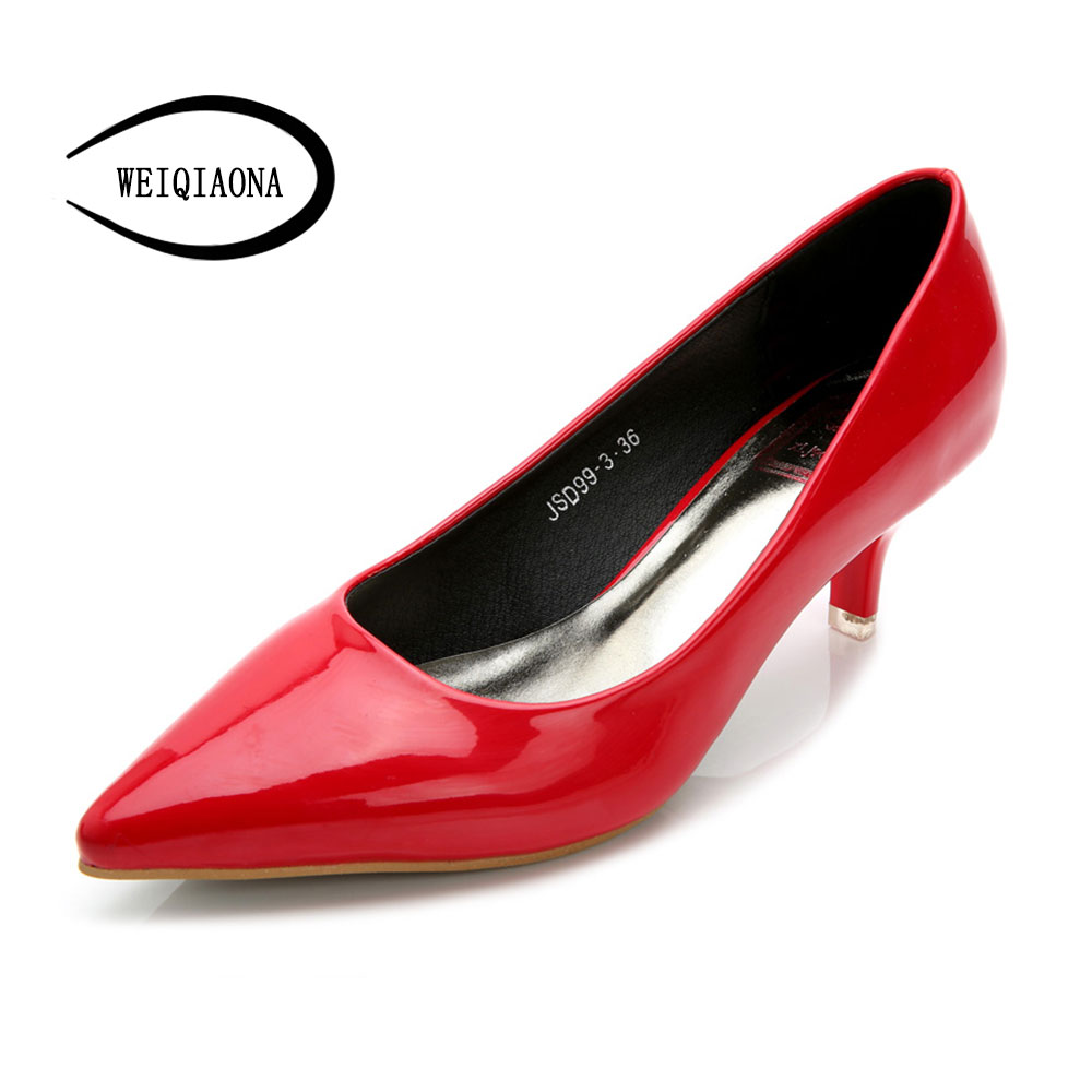 Woman Shoes Patent leather Low Heels Women Pumps Stiletto Thin Heel Women's Work shoe Pointed Toe red Wedding Shoes luxury brand crystal patent leather sandals women high heels thick heel women shoes with heels wedding shoes ladies silver pumps