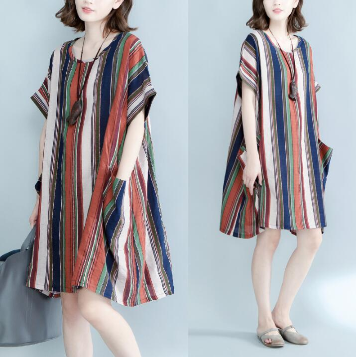 Plus Large Size Women Summer Dress Striped Print Beach Dresses Female Casual Loose Vintage Fashion Tops Elegant Midi Dresses 5XL