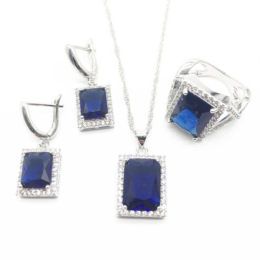 Square Natural Montana Zircon White Australian Crystal 925 Silver Jewelry Sets For Women Wedding Earrings/pendant/necklace/ring