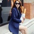 Nuevo 2015 mujeres abrigo de invierno otoño azul abrigo de lana largo abrigo de lana Desigual marca para mujer dama abrigo chaqueta Casacos Femininos