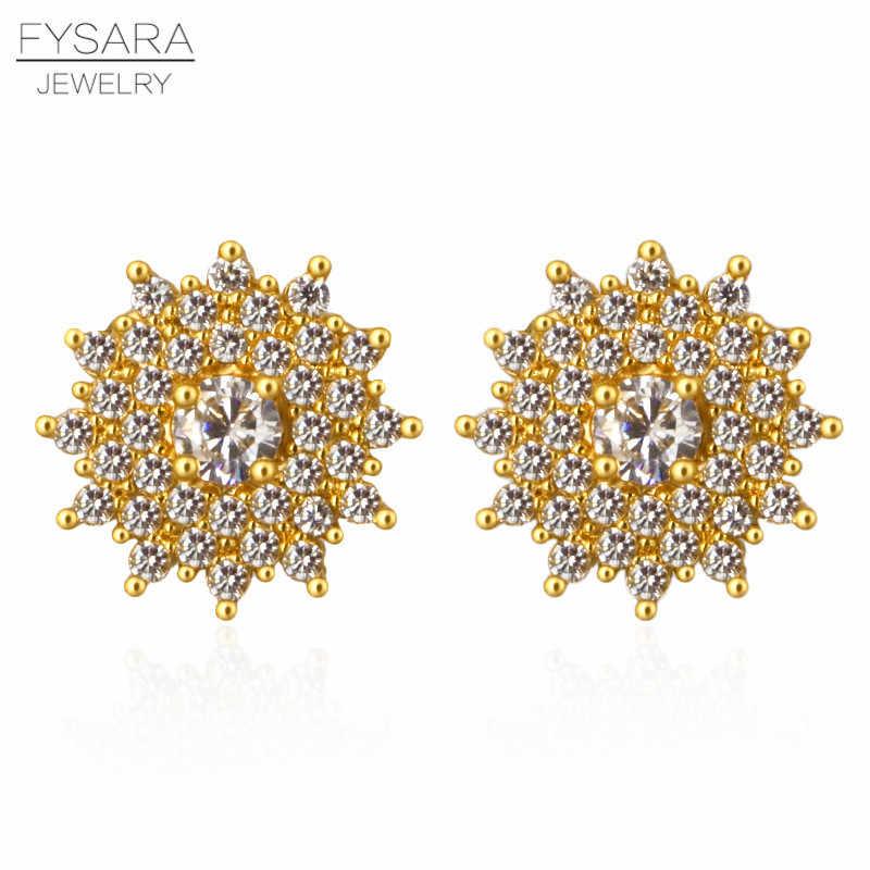 FYSARA Beautiful Fashion AAA CZ Crystals Flower Earrings Jewelry Silver Love Stud Earrings For Women Jewelry Wedding Accessories