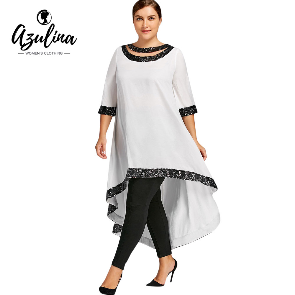 Azulina Plus Size Sequined Trim Dip Hem Dress Women Casual T Shirt