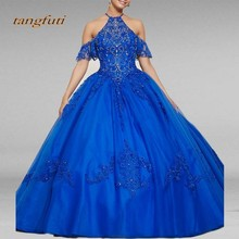 tangfuti Royal Blue Quinceanera Dresses Long Ball Gown