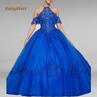 Royal Blue Quinceanera Dresses Long Ball Gown Tulle Sweet 16 Year Princess Party Dress 15 Years Vestidos De 15 Anos Quinceanera