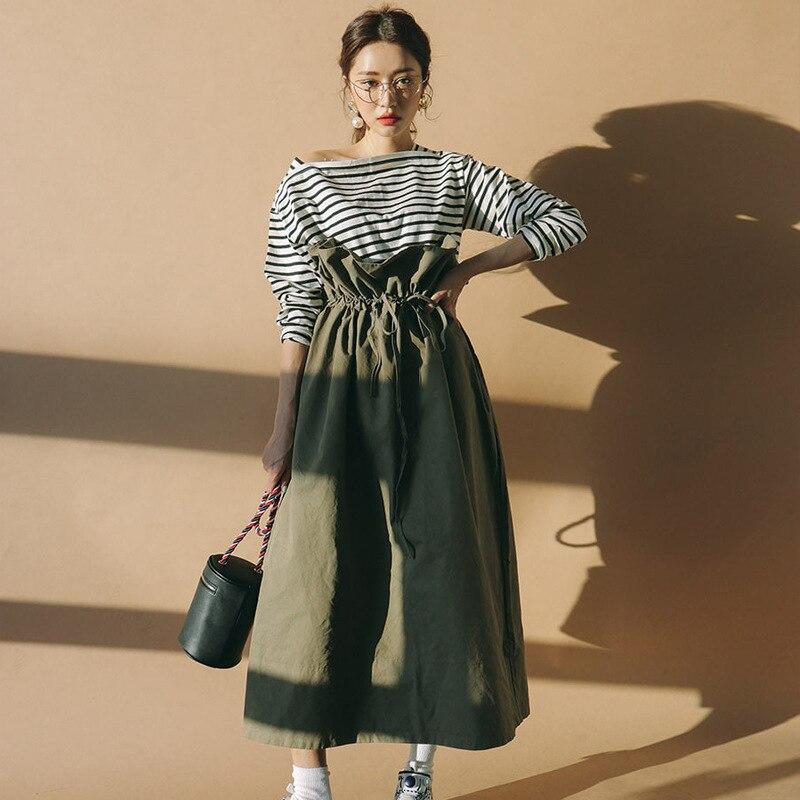 LANMREM 2019 New Pattern Pure Cotton Green Wide Long Skirts Ruffles High Waist Lace up Pleated Women Fashion Korea Bottoms WA927