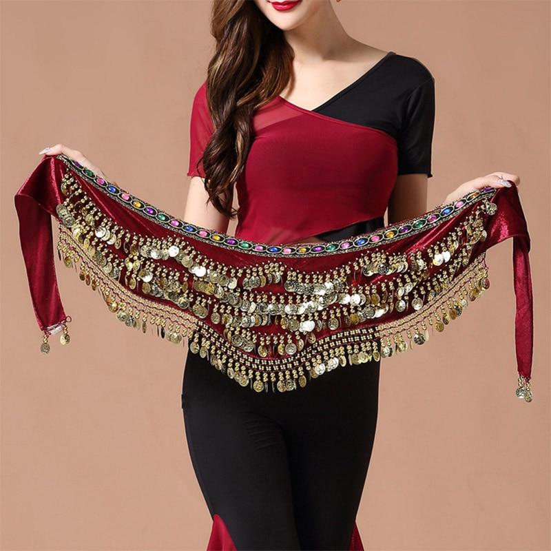 Oriental/Indian Belly Dance Coin Belt BellyDance Hip Scarf  Golden Coins Belly Dance Costume Accessories Dancing Coin Belt