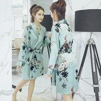 Sexy Female Silk Robe Dress Nightwear Printed Sleepwear Kimono Bath Gown Flower S M L XL XXL XXXL