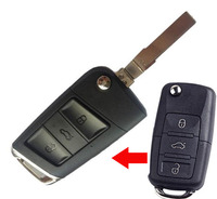 3 Buttons Modified Flip Remote Key Shell Case For Volkswagen VW Passat Polo Bora Lavida Santanta