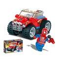 KAZI Educativos juguetes de Bloques de Construcción De Plástico ABS Araña Superman con Red car Kids Niños Regalos Juguetes de Navidad para Niños