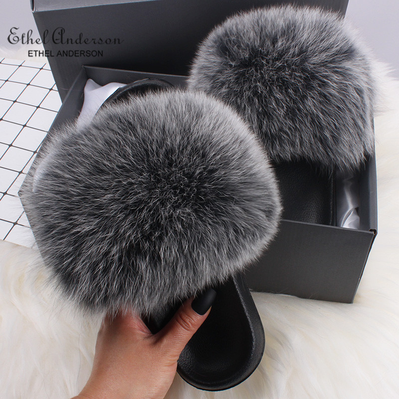 Ethel Anderson Fluffy Slippers Real FOX Fur Slides Indoor Flip Flops Casual Shoes Woman Raccoon Fur Sandals Vogue Plush Shoes girl