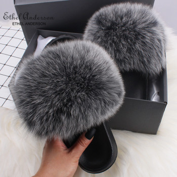 ETHEL ANERSON Fluffy Slippers Real FOX Fur Slides Indoor Flip Flops Casual High Recommend Raccoon Fur Sandals Vogue Plush Shoes plus size women in overalls