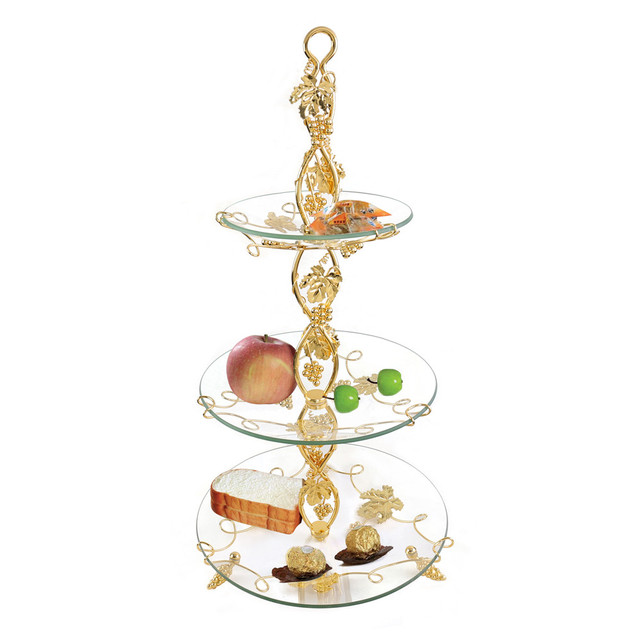 1 Set 3-Tier Cake Plate Stand Handle Crown Fitting Circle Round Display Wedding Party  sc 1 st  AliExpress.com & 1 Set 3 Tier Cake Plate Stand Handle Crown Fitting Circle Round ...